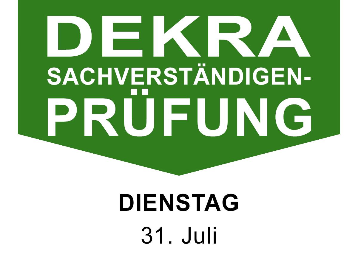 DEKRA Sachverständigenprüfung am 31. Juni 2018